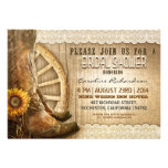cowboy shoes sunflowers wood bridal shower invites