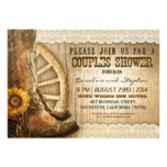 cowboy shoes sunflowers wood couples shower invite