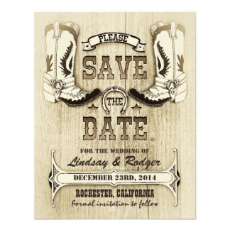 cowboy shoes western country save the date personalized invites
