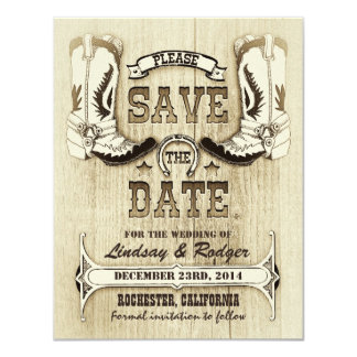 """cowboy shoes western country save the date 4.25"""" x 5.5"""" invitation card"""
