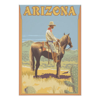 Cowboy Side View Arizona Posters