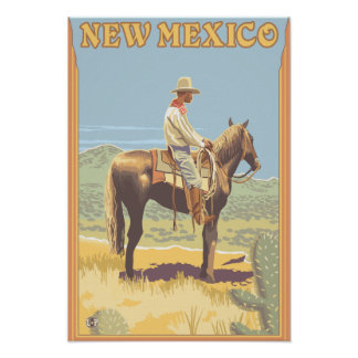 Cowboy Side View New Mexico Print