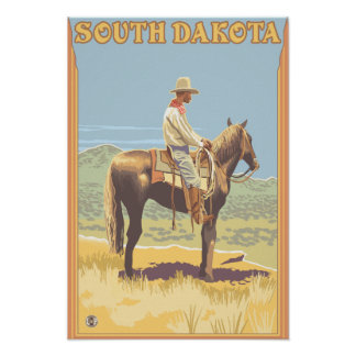 Cowboy Side View South Dakota Poster