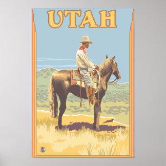 Cowboy Side View Utah Posters