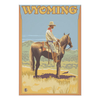 Cowboy Side View Wyoming Posters