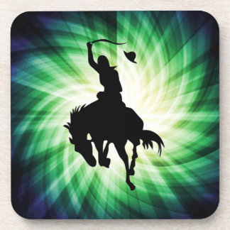 Cowboy Silhouette; Glowing Drink Coaster