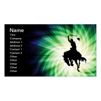 Cowboy Silhouette; Glowing Pack Of Standard Business Cards