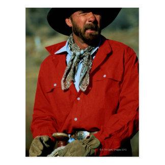 Cowboy sitting on horse wearing red shirt, postcard