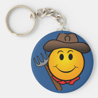 Cowboy Smiley Basic Round Button Key Ring