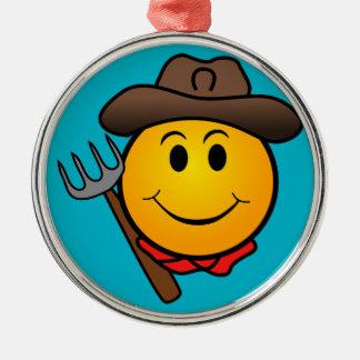 Cowboy Smiley Silver-Colored Round Decoration