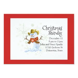 Cowboy Snowman Christmas Holiday Invitation