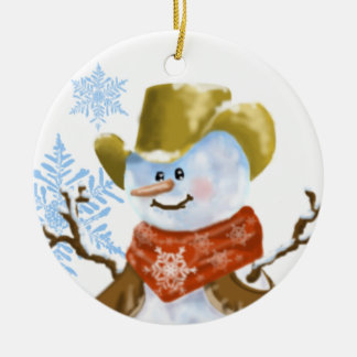 Cowboy Snowman Christmas Ornament
