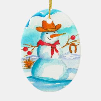 Cowboy Snowman Custom Name Christmas Christmas Ornament