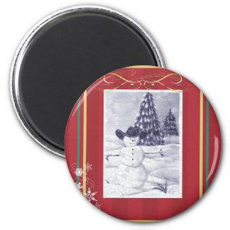 Cowboy Snowman Mosiac 6 Cm Round Magnet