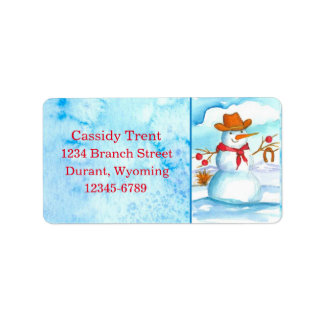 Cowboy Snowman Snowflakes Watercolor Label
