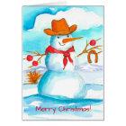 Cowboy Snowman Watercolor Merry Christmas Card