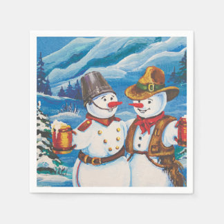 Cowboy Snowman With Beer Disposable Serviette