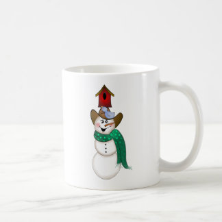 Cowboy Snowman with Birdhouse Coffee Mug