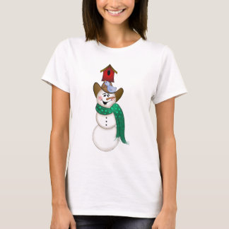 Cowboy Snowman with Birdhouse T-Shirt