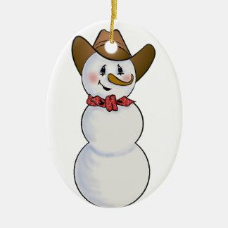 Cowboy Snowman with Red Bandana Christmas Ornament