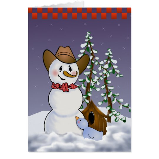 Cowboy Snowman with Red Bandanna Card
