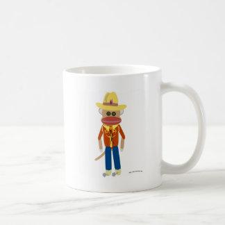 Cowboy Sock Monkey Basic White Mug