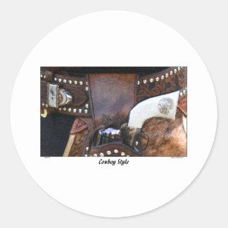 COWBOY STYLE ROUND STICKER