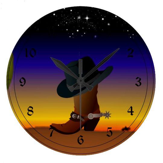 Cowboy Sunset Large Clock