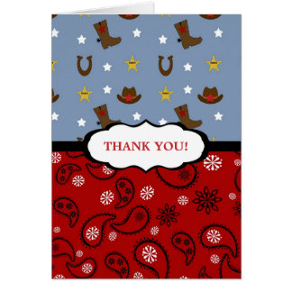 Cowboy Thank You Note / red blue paisley boots Card