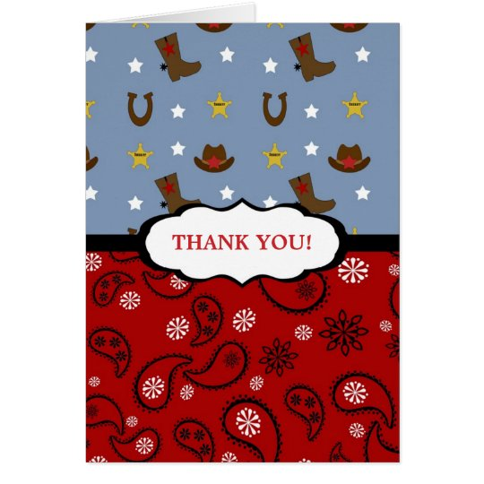 Cowboy Thank You Note / red blue paisley