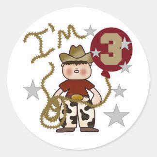 Cowboy Third Birthday T-shirts and Gifts Classic Round Sticker