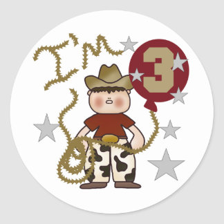 Cowboy Third Birthday T-shirts and Gifts Round Sticker