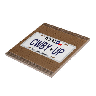 Cowboy Up!  CWBY UP Texas License Plate Tile
