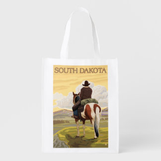 Cowboy (View from Back)South Dakota Reusable Grocery Bag