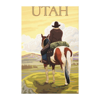 Cowboy (View from Back)Utah Gallery Wrap Canvas