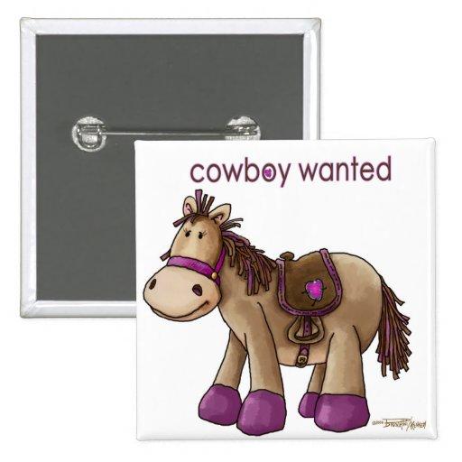 Cowboy Wanted 15 Cm Square Badge