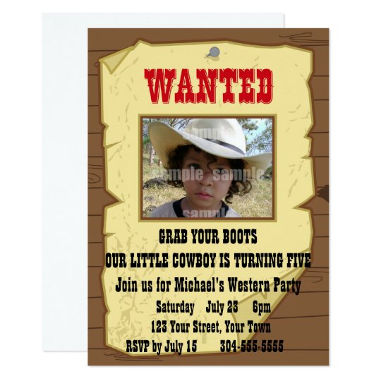 Cowboy Wanted Poster Birthday Party Card
