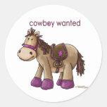Cowboy Wanted Round Sticker