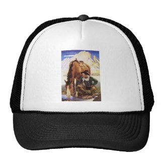 Cowboy Watering His Horse by NC Wyeth, Vintage Art Trucker Hat