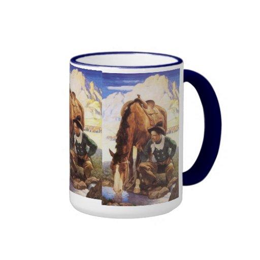 Cowboy Watering His Horse by NC Wyeth, Vintage Art Coffee Mug