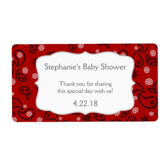 Cowboy Western Baby shower Water Bottle Favour Shipping Label