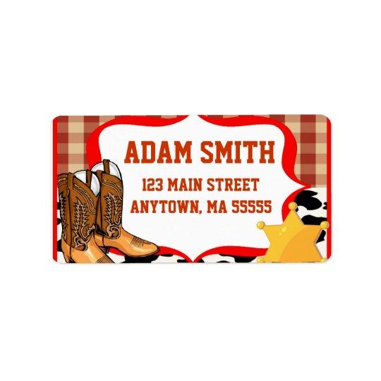 Cowboy Western Birthday Party Address Labels