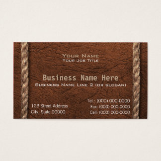 Cowboy / Western Faux Leather & Rope Business Card