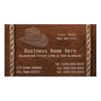 Cowboy / Western Faux Tooled Leather & Rope Business Card Template