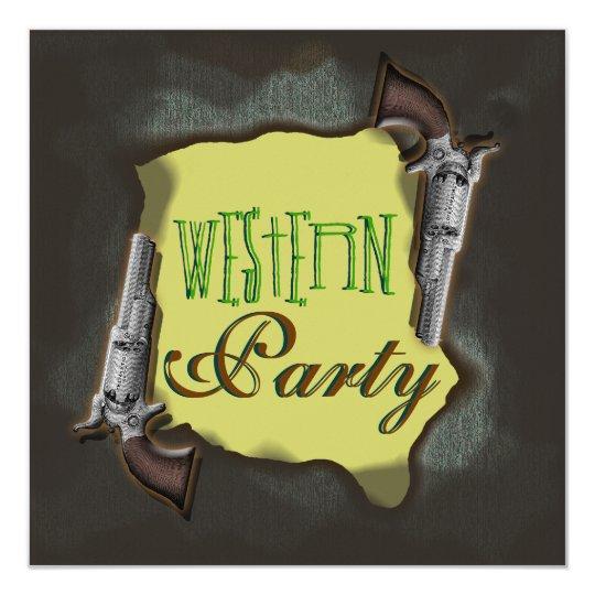 Cowboy western horse ranch corral party 13 cm x 13 cm square invitation card