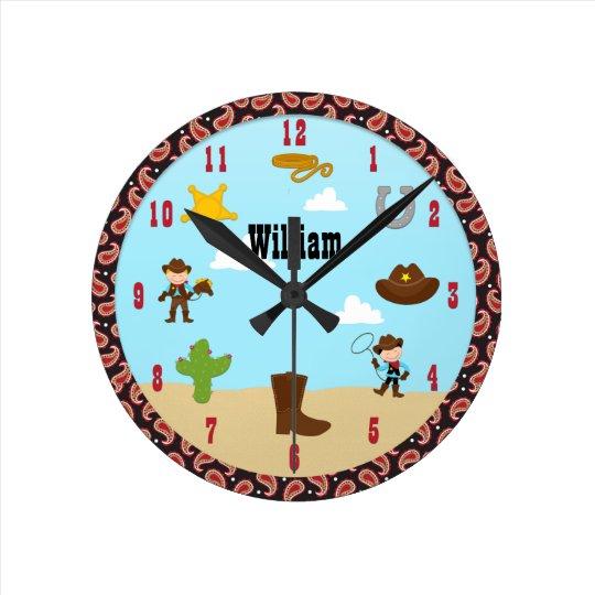 Cowboy Western Kids Room Clock