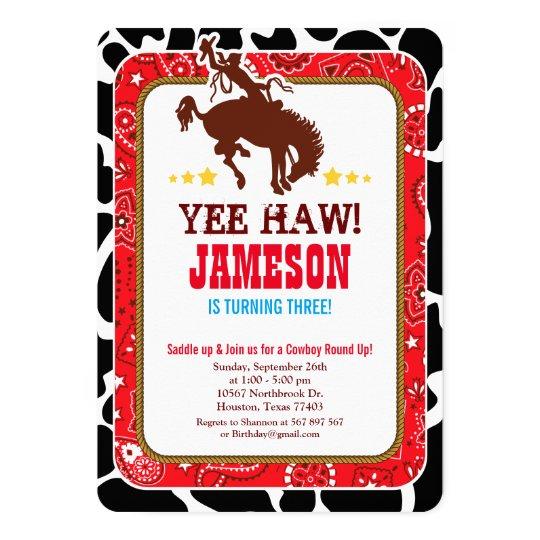 Cowboy Western Old West Birthday Party Invitation