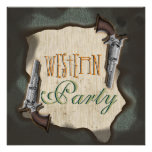 Cowboy western ranch corral party personalised invitations
