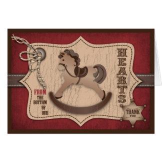 Cowboy Western Rocking Horse Thank You Card