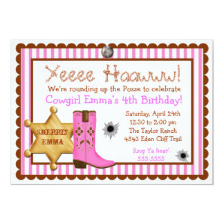 Cowboy  Wild West  Birthday  Invitations